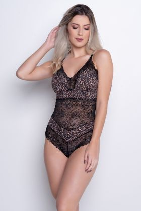 Body Sexy Animal Print c/ Renda Luxo